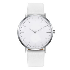 Engraved personalised womens watch with leather band (silver and white)