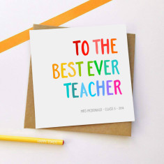 Personalised rainbow teacher card