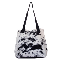 Little Lygon bag in black and natural cowhide