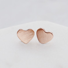 Brushed heart studs in rose gold or silver