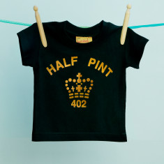 Half pint children's tee in black and gold