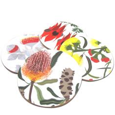 Flora coasters (firewood banksia, rose mallee, illyarrie, sturt desert pea) (set of 4)