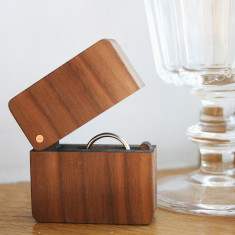 Walnut And Copper Wooden Hinged Ring Box