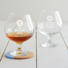 Personalised Special Age Birthday Brandy Glass For Him