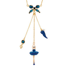 Ballerina and Bow Necklace - Aurora Blue