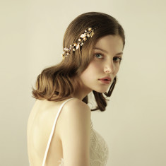 Boho Gold Leaves And Pearl Bridal Hair Crown