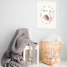 Swan Girls' Personalised Wall Print