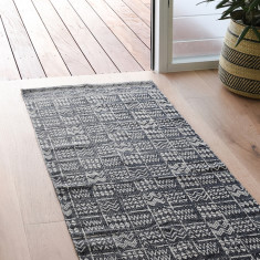 Runner Tribal Rug In Charcoal