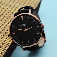 Personalised Leather Watch in Black