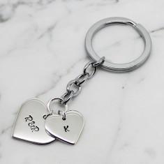Personalised double love heart sterling silver key chain