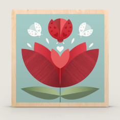 Love Bug flower wood block print