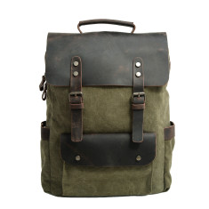 Canvas Backpack/Laptop Bag With Pockets In Green