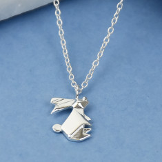 Sterling Silver Origami Bunny Rabbit Necklace
