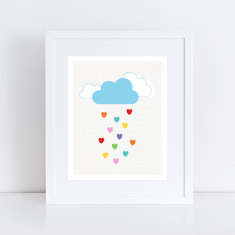 love heart rain art print