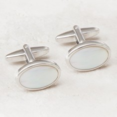 Oval Mother Of Pearl Rhodium Plated Cufflinks