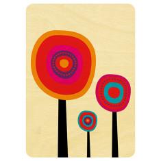 Three delightful flowers wooden card
