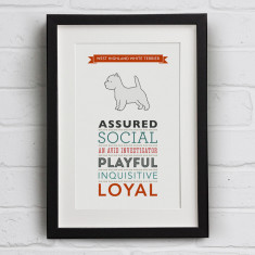 West Highland White Terrier Dog Breed Traits Print