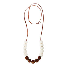 Wood white and bead necklace