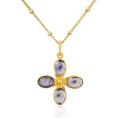 Santorini Water Sapphire Daisy Cross in 18ct Gold