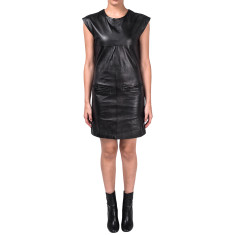 Black Kepler shift leather dress