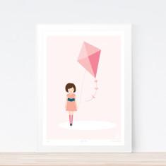 Pink kite art print