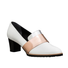 Sheba Block Heel Leather Pumps In White with Metallic Band