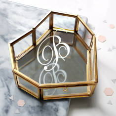 Personalised glass heart jewellery box with initial