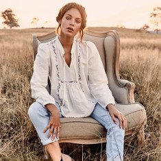 Laura Prairie ribbon blouse