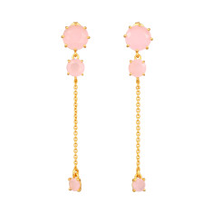 Soft pink diamantine three stones and chain earrings