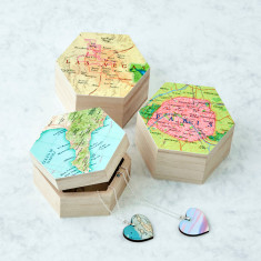 Personalised map hexagon jewellery box