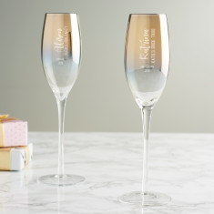 Personalised Hen Party Metallic Champagne Flute