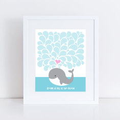 Whale signature guest book print