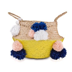 Seagrass belly basket in Yellow Shaggy