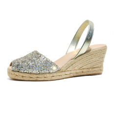 Lluna leather sandals in gold glitter