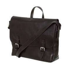 Modern messenger bag in genuine black leather