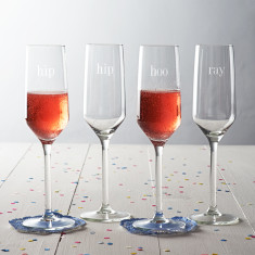 Hip Hip Hooray Champagne Glass Set