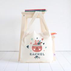 Rabbit personalised library bag