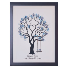 Framed unity tree blue birds fingerprint guestbook