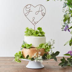Heart And Ampersand Personalised Wire Cake Topper