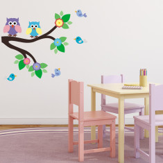 Branch With Owls and Birds Wall Sticker