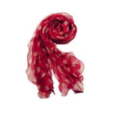 Crimson cream dot light silk scarf