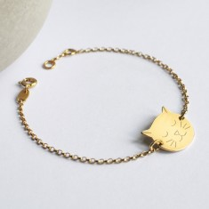 Personalised Gold Cat Face Bracelet