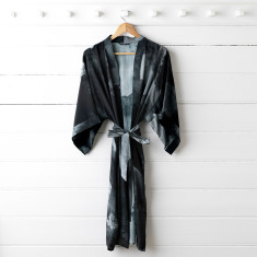 Black Ink Silk Dressing Gown