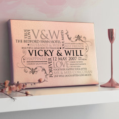 Personalised Metallic Rose Gold Couple's Word Art