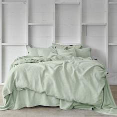 Pure linen quilt cover set in dew green