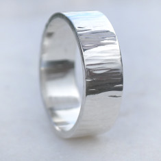 Tree Bark Hammered Silver Ring