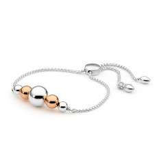 Sterling silver large ball sliding bracelet