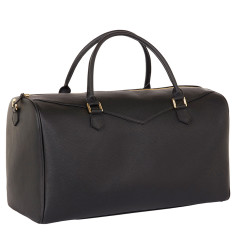 Weekender bag in Italian black leather