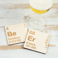 Beer periodic table wooden coasters