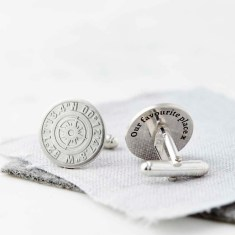 Personalised Coordinate Cufflinks With Hidden Message